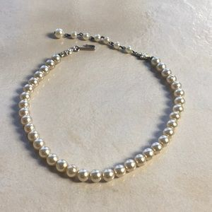 Vintage 50s 60s Faux Pearl Necklace Rhinestone